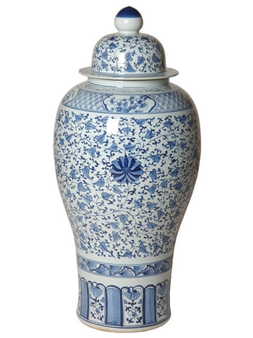 Large Ginger Jar in Blue & White design by Emissary