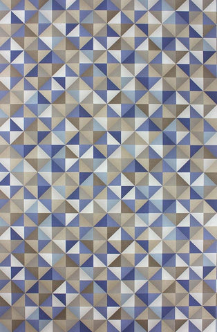 Zirconia Wallpaper in blue and tan from the Belvoir Collection by Osborne & Little