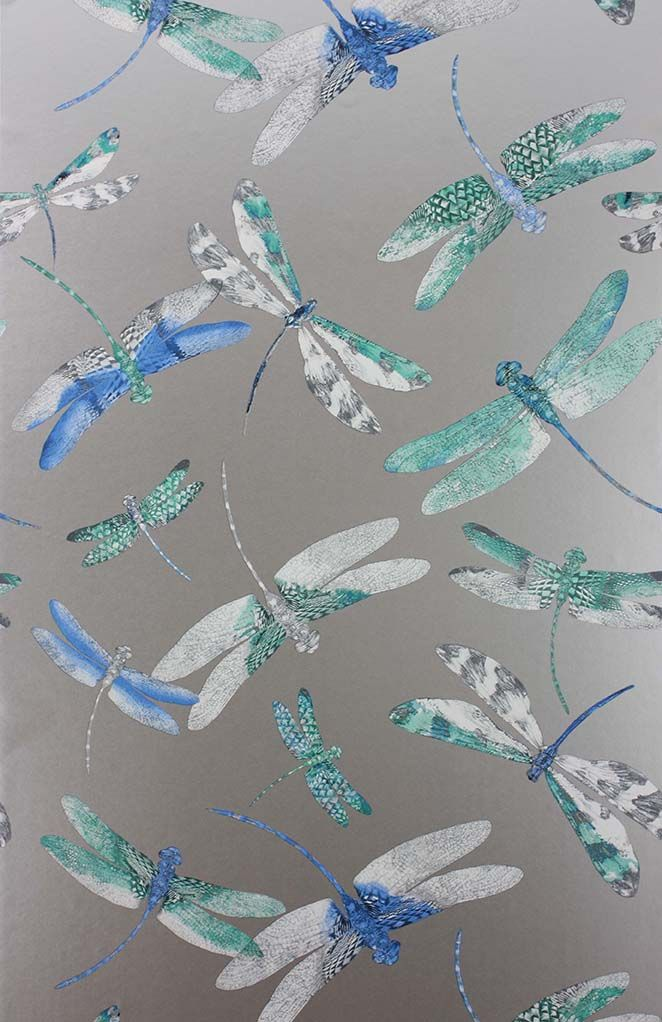 Sample Dragonfly Dance Wallpaper in Blue and Metallic Silver from the Samana Collection by Matthew Williamson