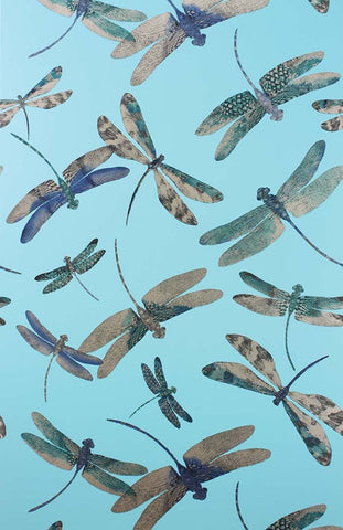 Dragonfly Dance Wallpaper in turquoise from the Samana Collection by Matthew Williamson