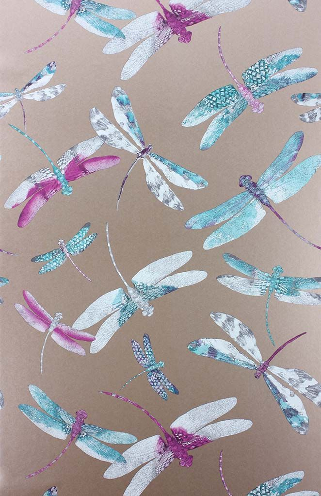 Dragonfly Dance Wallpaper in Plum and metallic copper from the Samana Collection by Matthew Williamson