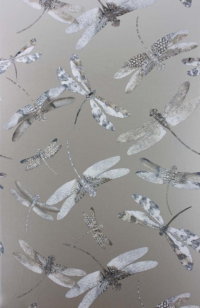 Dragonfly Dance Wallpaper in gray from the Samana Collection by Matthew Williamson