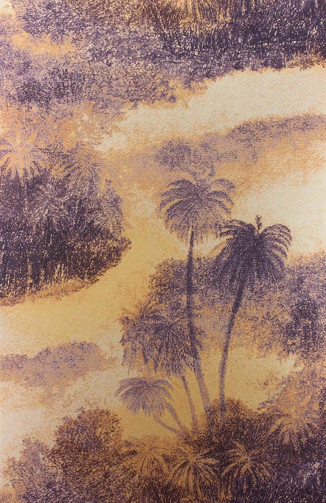 Sample Cocos Wallpaper in beige and purple from the Samana Collection by Matthew Williamson