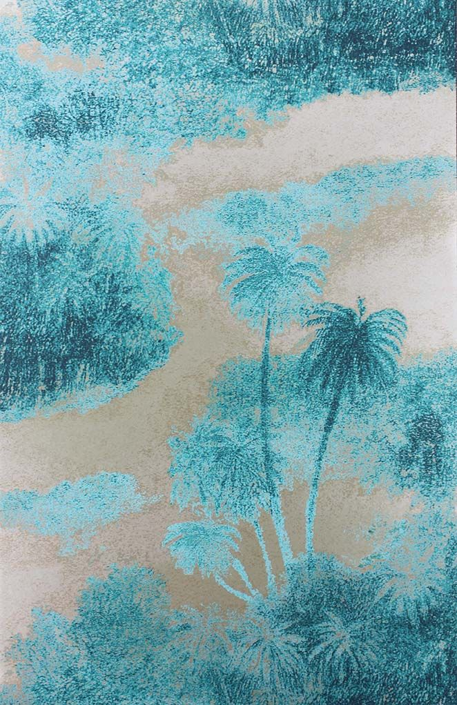 Cocos Wallpaper in turquoise from the Samana Collection by Matthew Williamson