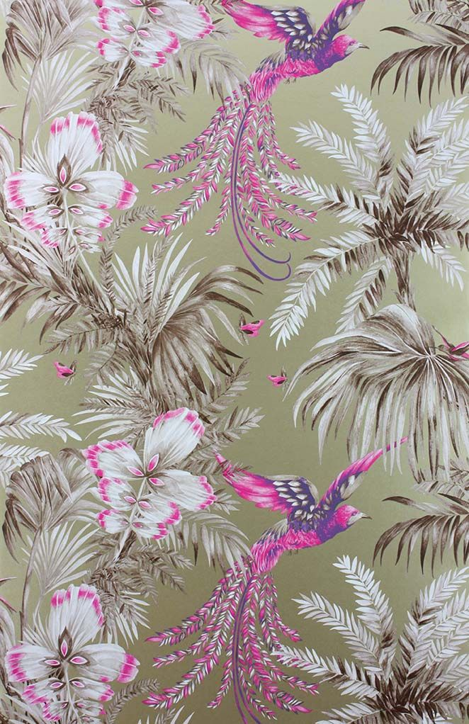 Sample Bird Of Paradise Wallpaper in purple and tan from the Samana Collection by Matthew Williamson