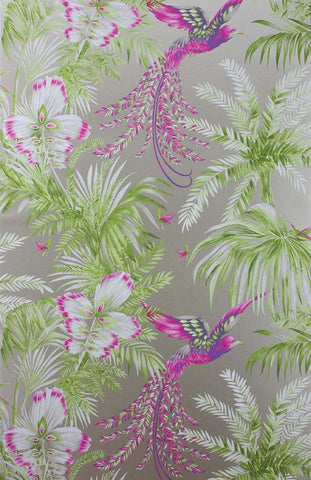 Sample Bird Of Paradise Wallpaper in green and purple from the Samana Collection by Matthew Williamson