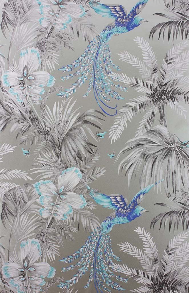 Bird Of Paradise Wallpaper in blue and gray from the Samana Collection by Matthew Williamson