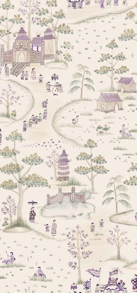 Cathay Parade Wallpaper in Purple and tan from the Cathay Collection by Nina Campbell