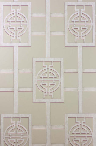 Sansui Wallpaper in tan from the Cathay Collection by Nina Campbell
