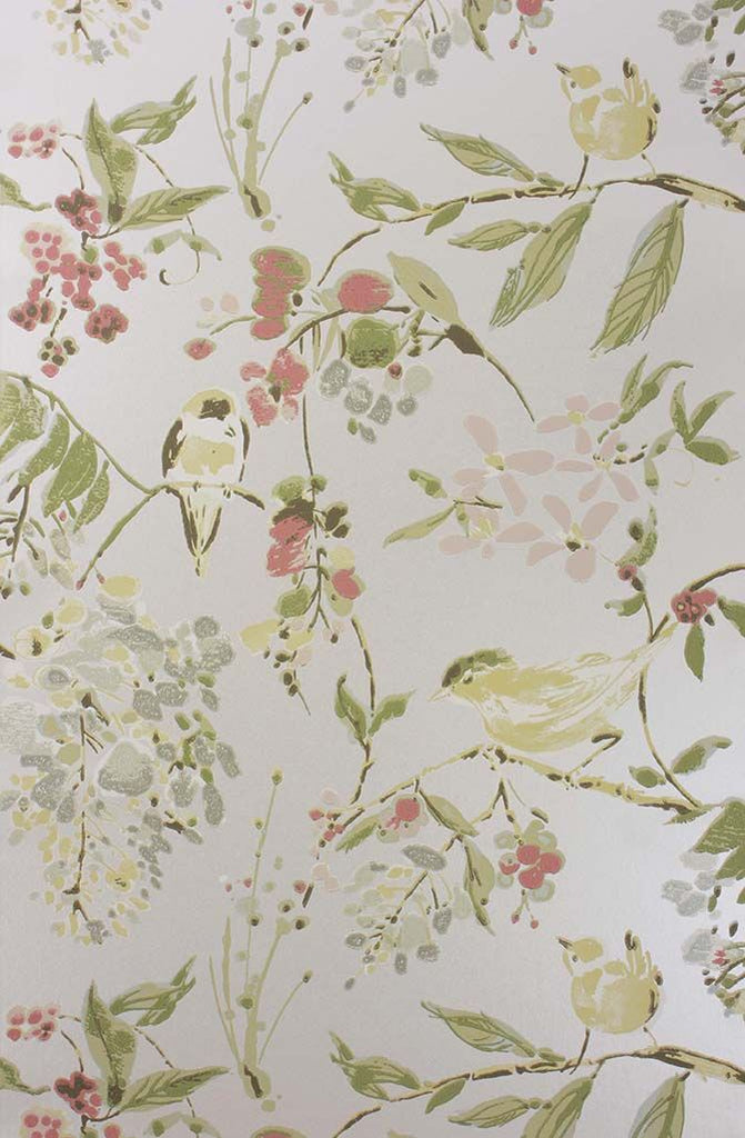 Penglai Wallpaper in Pastel gray from the Cathay Collection by Nina Campbell