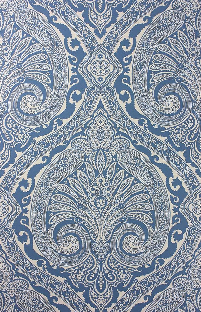 Sample Khitan Wallpaper in blue from the Cathay Collection by Nina Campbell