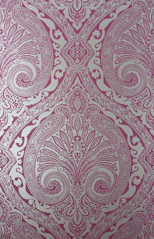 Khitan Wallpaper in pink and silver from the Cathay Collection by Nina Campbell