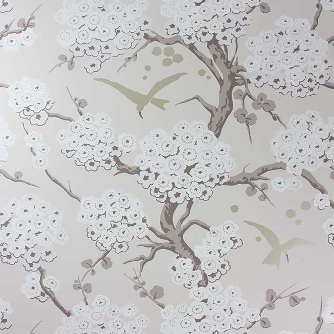 Sample Japonerie Wallpaper in gray from the Verdanta Collection by Osborne & Little