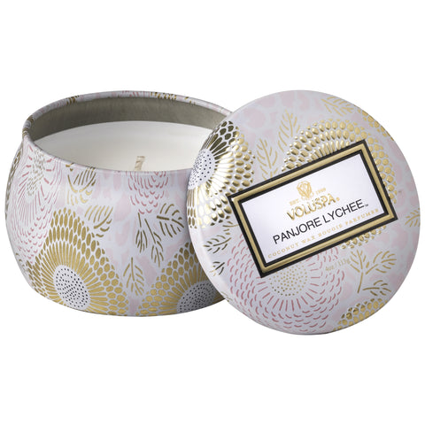 Petite Decorative Tin Candle in Panjore Lychee design by Voluspa