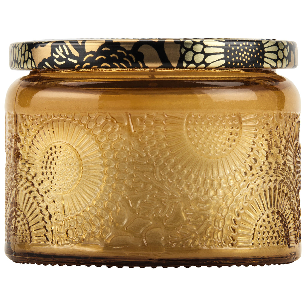Petite Embossed Glass Jar Candle in Baltic Amber design by Voluspa