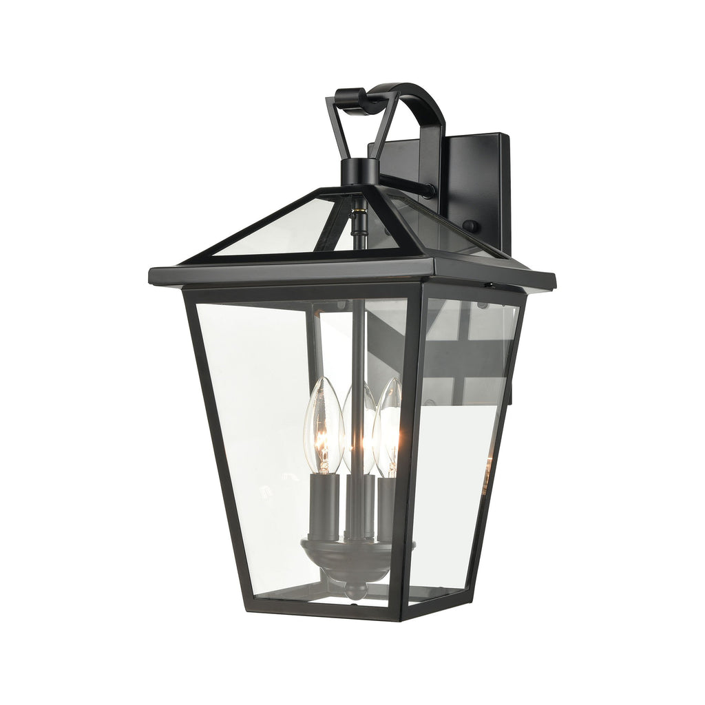 Main Street 3-Light Outdoor Sconce in Black with Clear Glass Enclosure by BD Fine Lighting