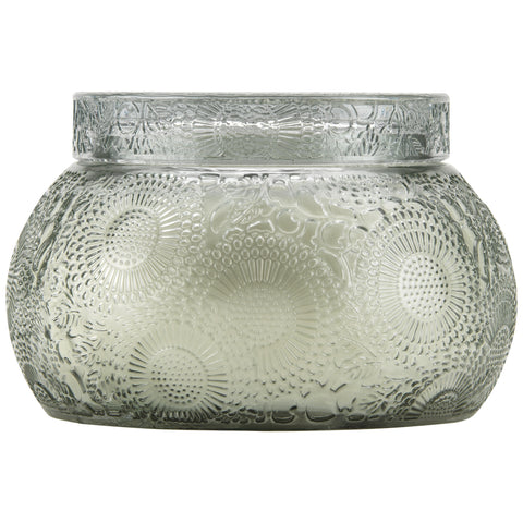 Chawan Bowl 2 Wick Embossed Glass Candle in French Cade Lavender design by Voluspa