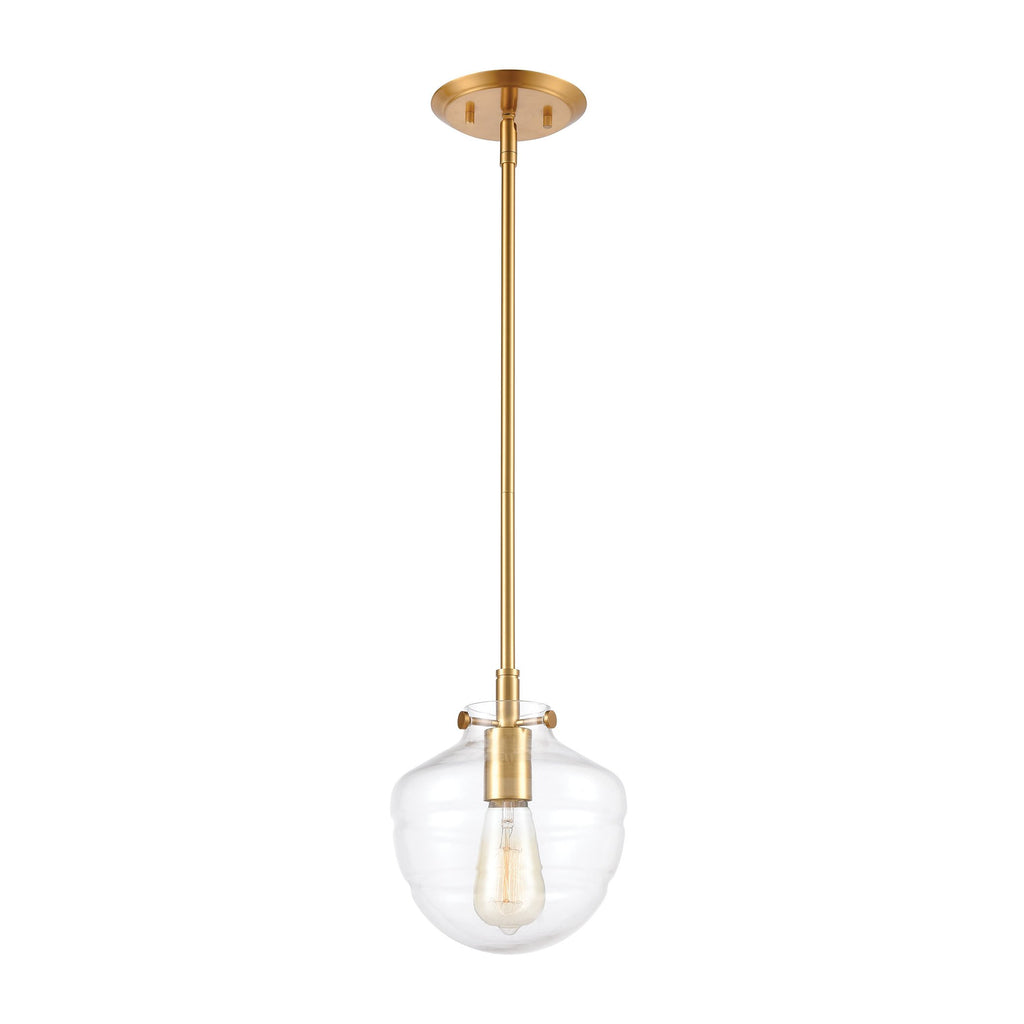 Manhattan Boutique 1-Light Mini Pendant in Brushed Brass with Clear by BD Fine Lighting