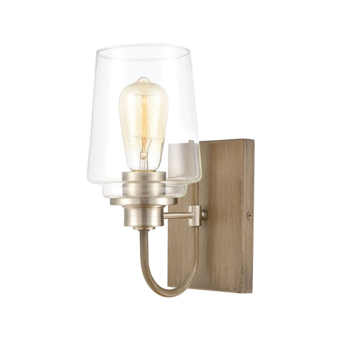 Bakersfield 1-Light Vanity Light in Light Wood with Clear Glass by BD Fine Lighting