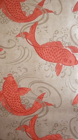 Sample Derwent Wallpaper in red and tan from the Folia Collection by Osborne & Little