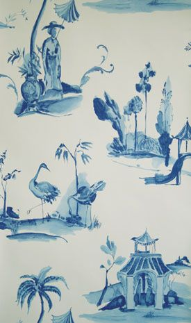 Palais Chinois Wallpaper in blue from the Pompadour Collection by Osborne & Little