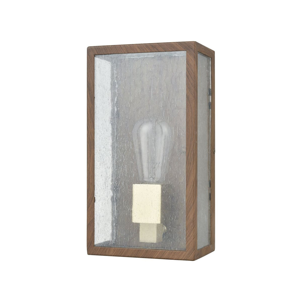 Mckenzie 1 Outdoor Sconce in Dark Wood Print & Brushed Brass