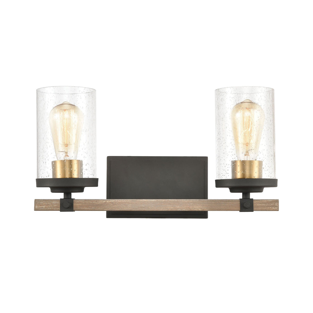 Geringer 2-Light Vanity Light in Charcoal and Beechwood with Seedy Glass by BD Fine Lighting
