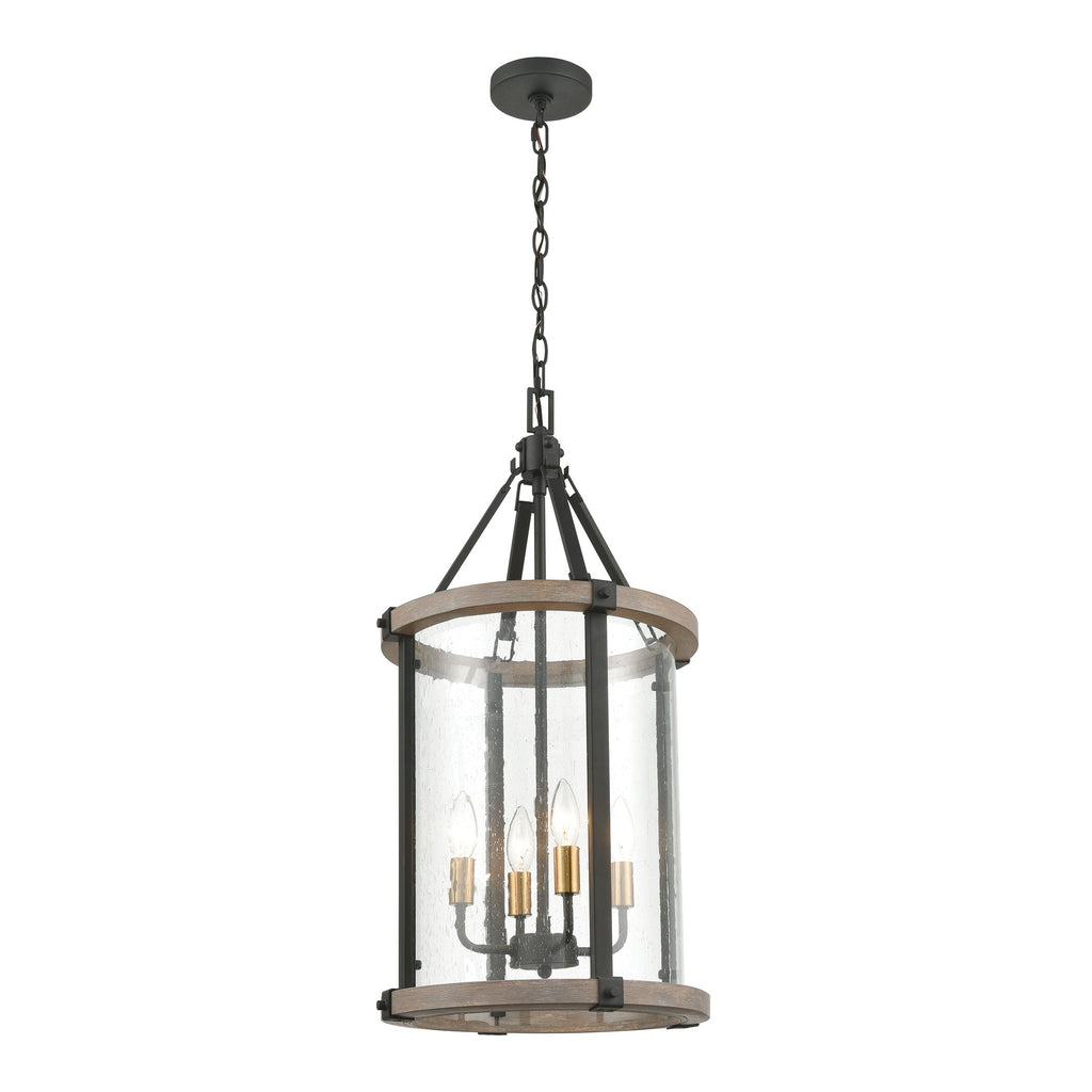 Geringer 4-Light 17 x 14 x 14 Pendant in Charcoal and Beechwood with Seedy Glass Enclosure by BD Fine Lighting