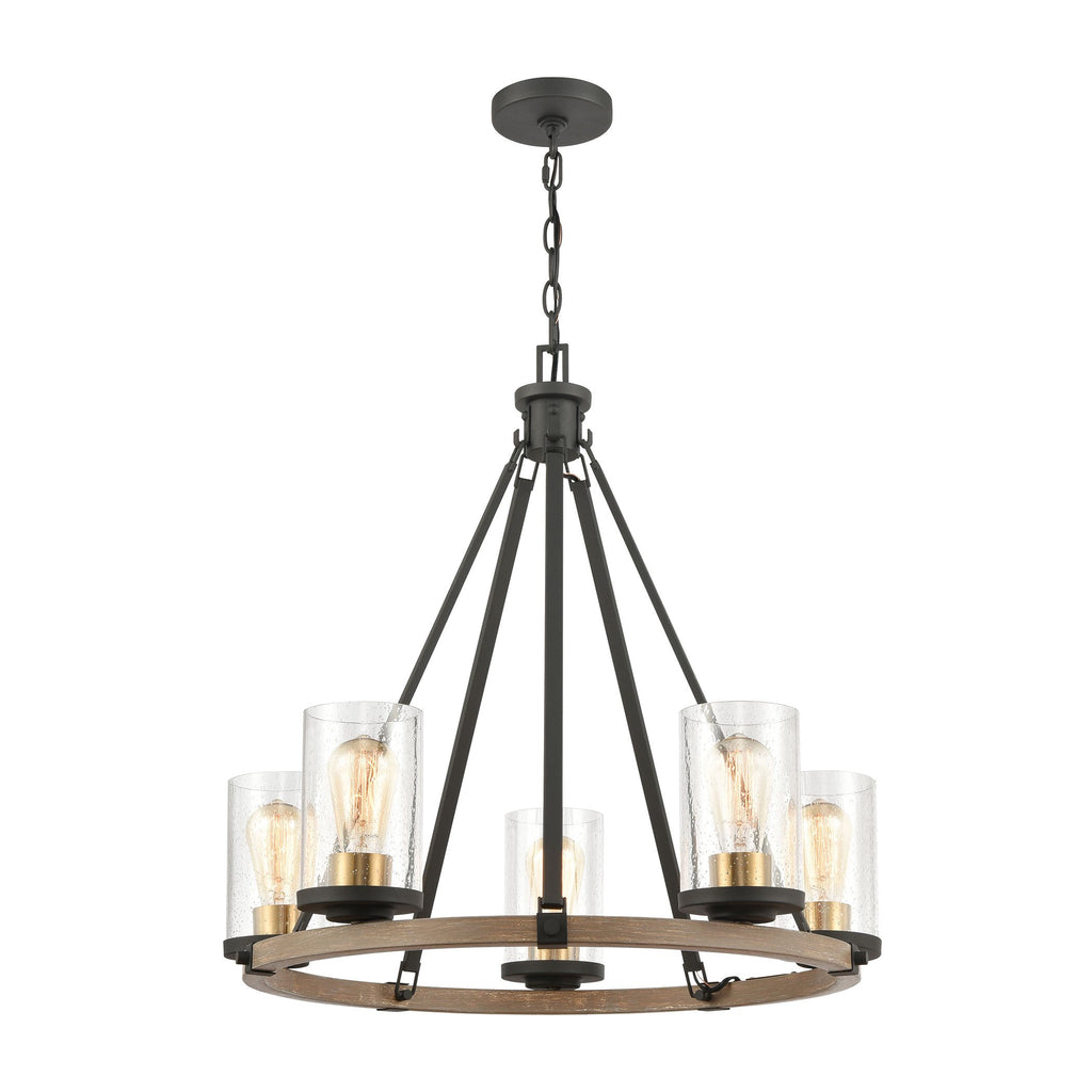 Geringer 5-Light Chandelier in Charcoal and Beechwood with Seedy Glass by BD Fine Lighting