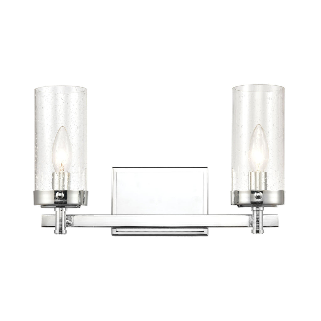 Melinda 2-Light Vanity Light in Polished Chrome with Seedy Glass by BD Fine Lighting