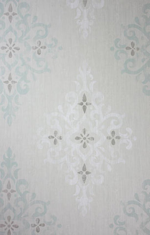 Holmwood Wallpaper in silver from the Braemar Collection by Nina Campbell