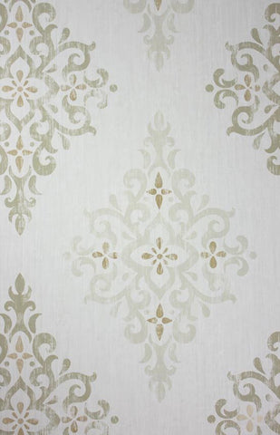 Holmwood Wallpaper in silver and green from the Braemar Collection by Nina Campbell