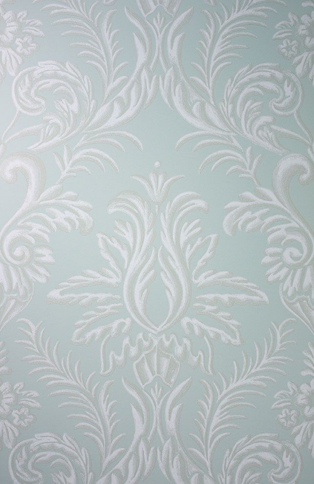 Sample Ardwell Wallpaper in Turquoise and Gray from the Braemar Collection by Nina Campbell