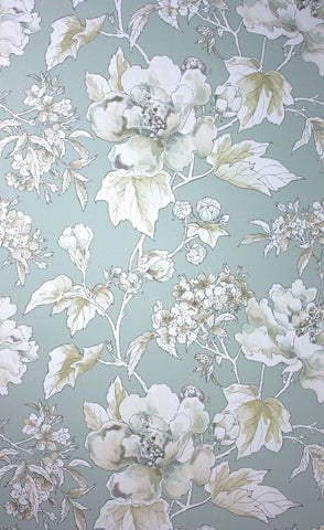 Benington Wallpaper in grey and turquoise from the Woodsford Collection by Nina Campbell