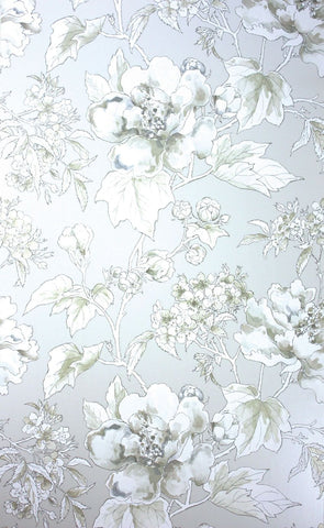Benington Wallpaper in silver from the Woodsford Collection by Nina Campbell