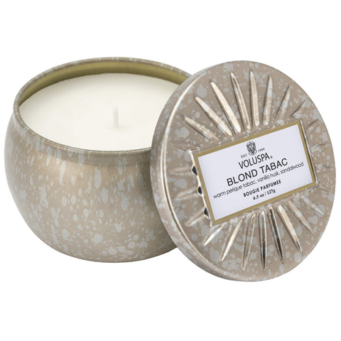 Petite Decorative Tin Candle in Blond Tabac design by Voluspa
