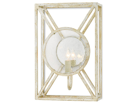 Beckmore Wall Sconce in Silver Granello design by Currey & Company