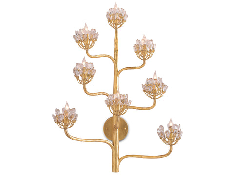 Agave Americana Wall Sconce in Dark Contemporary Gold Leaf design by Currey & Company