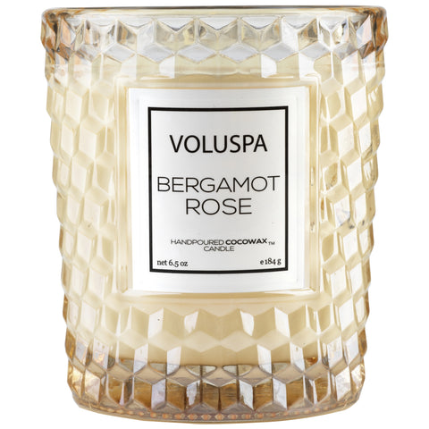 Classic Textured Glass Candle in Bergamot Rose design by Voluspa