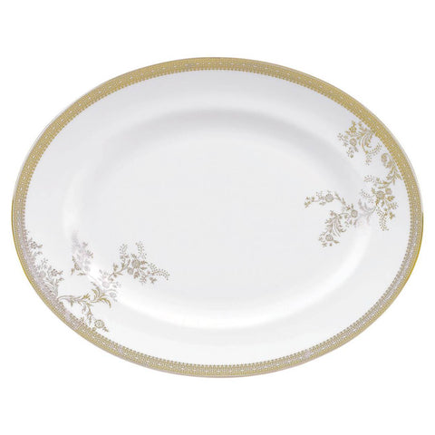 Vera Lace Gold Oval Platter by Vera Wang