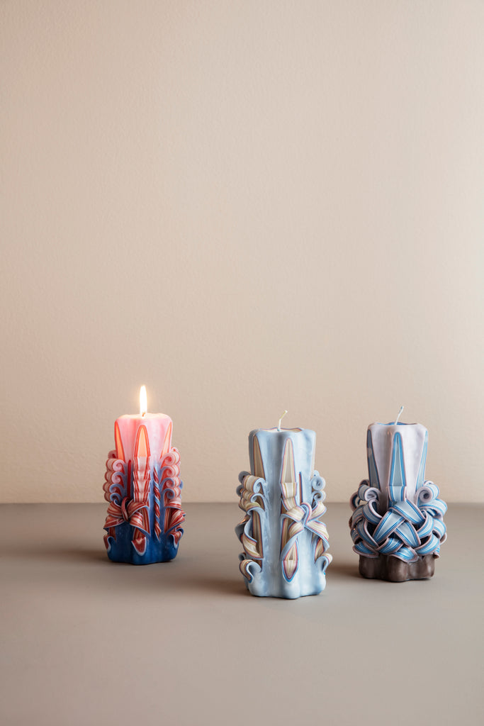 Hand-Carved Candles in Various Colors by Ferm Living