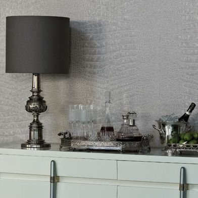Crocodilo Wallpaper in gray from the Metropolis Collection by Osborne & Little