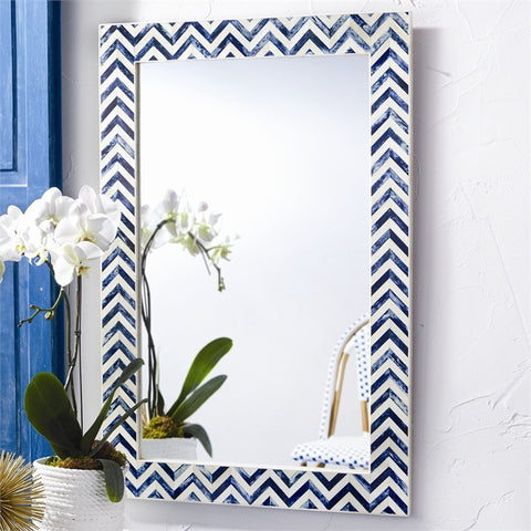 Chevron Indigo Bone Wall Mirror