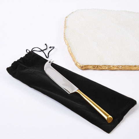 White Marble Cheese Plate in Gold with Knife by Two's Company