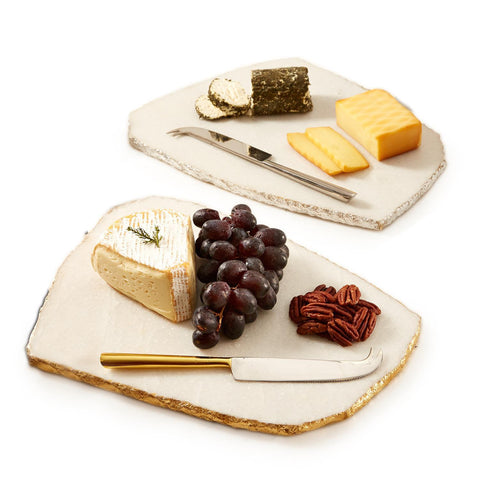 White Marble Cheese Plate with Knife by Two's Company