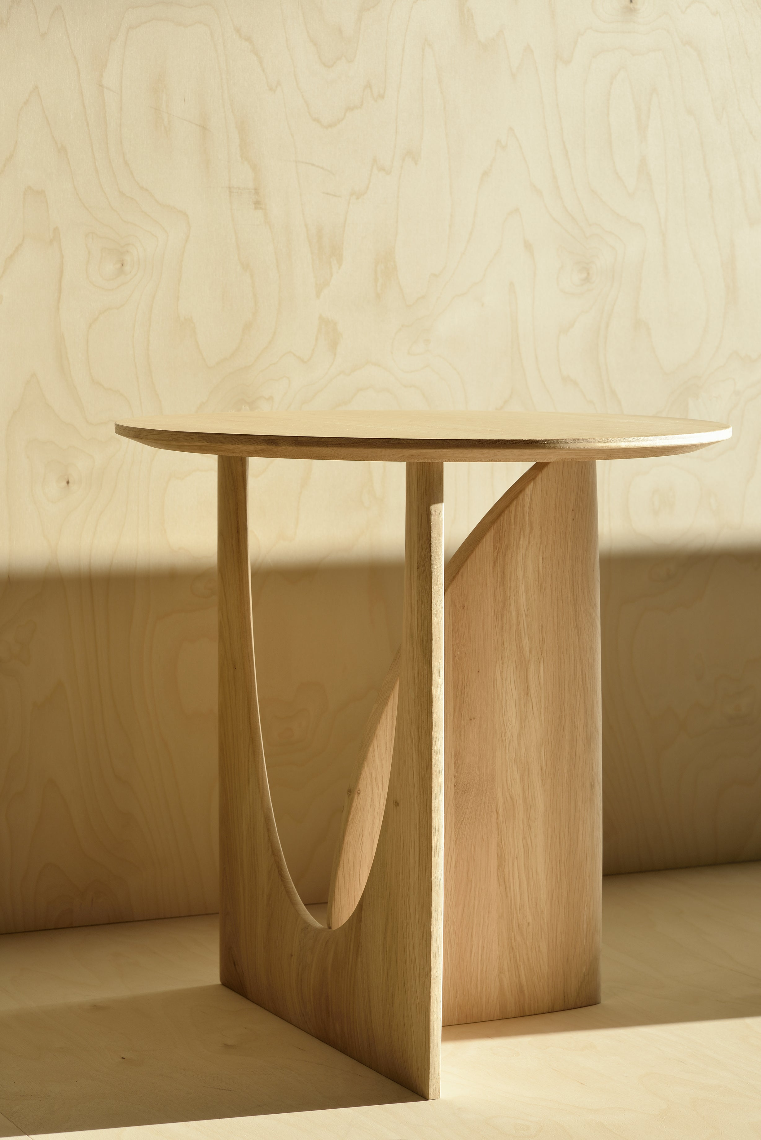 Oak Geometric Side Table in Various Colors