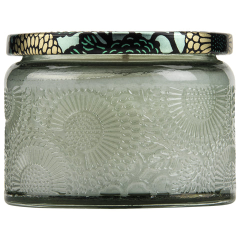 Petite Embossed Glass Jar Candle in French Cade Lavender design by Voluspa