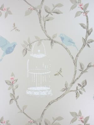 Birdcage Walk Wallpaper in beige color by Nina Campbell