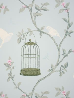Birdcage Walk Wallpaper in gray and green color by Nina Campbell
