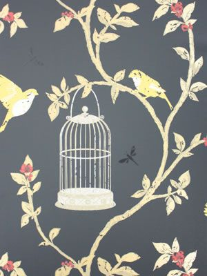 Birdcage Walk Wallpaper in black and beige color by Nina Campbell
